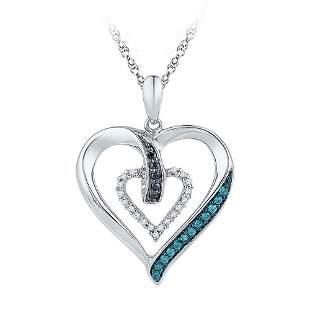 Round Black Blue Color Enhanced Diamond Heart Pendant