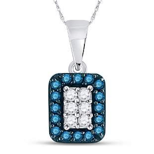 Round Blue Color Enhanced Diamond Rectangle Cluster