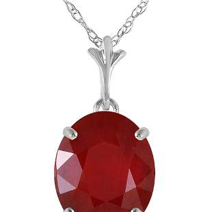 Genuine 3.5 ctw Ruby Necklace 14KT White Gold -