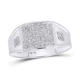 Round Prong-set Diamond Square Cluster Ring 1/4 Cttw