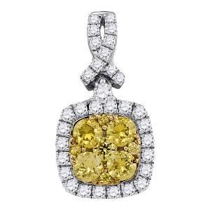 Round Yellow Diamond Cluster Square Frame Pendant 1