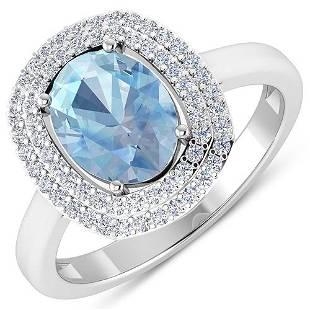 Natural 1.68 CTW Aquamarine & Diamond Ring 14K White