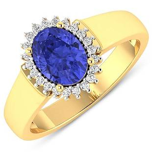 Natural 2.4 CTW Tanzanite & Diamond Ring 14K Yellow