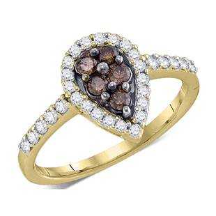Round Brown Diamond Cluster Ring 1/2 Cttw 10KT Yellow