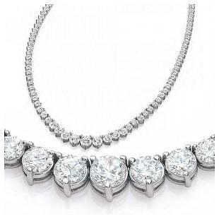 Natural 9.57CTW VS2/I-J Diamond Tennis Necklace 14K