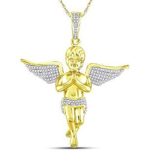 Round Diamond Angel Charm Pendant 1/2 Cttw 10KT Yellow