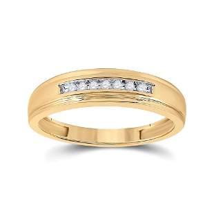 Round Diamond Wedding Band Ring 1/12 Cttw 10KT Yellow