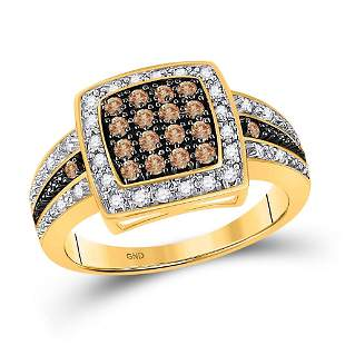 Cluster Square-shape Cocktail Ring 1/2 Cttw 10KT Yellow