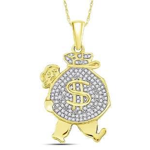 Round Diamond Money Bag Man Charm Pendant 1/4 Cttw 10KT