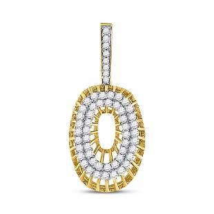 Round Diamond O Letter Charm Pendant 1 Cttw 10KT Yellow