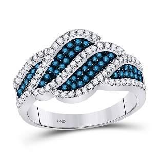 Round Blue Color Enhanced Diamond Fashion Ring 3/4 Cttw