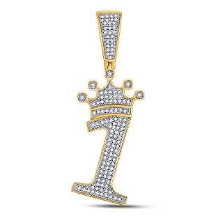 Round Diamond Number 1 Crown Charm Pendant 1/3 Cttw