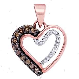 Round Brown Diamond Heart Pendant 1/5 Cttw 10KT Rose