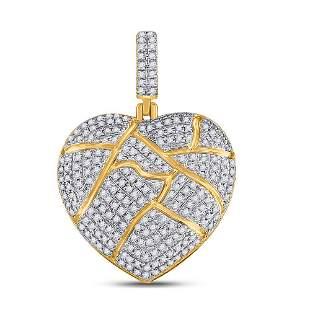Round Diamond Broken Heart Charm Pendant 5/8 Cttw 10KT