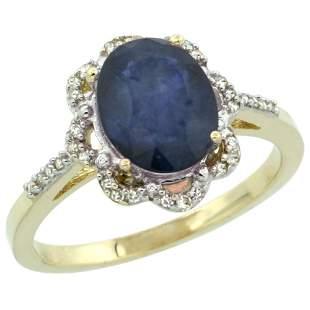 2.34 CTW Blue Sapphire & Diamond Ring 14K Yellow Gold -