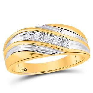 Round Diamond Wedding Band Ring 1/4 Cttw 14KT Yellow