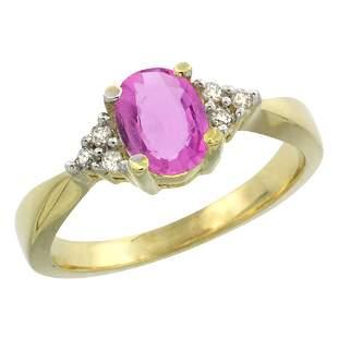 1.06 CTW Pink Sapphire & Diamond Ring 10K Yellow Gold -