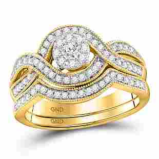Diamond Bridal Wedding Ring Band Set 1/2 Cttw 10KT