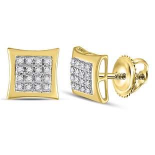 Round Diamond Kite Square Earrings 1/12 Cttw 10KT