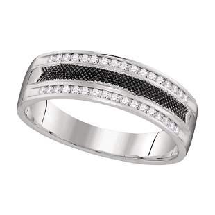 Round Diamond Wedding Black-tone Band Ring 1/4 Cttw