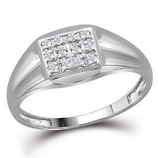Round Diamond Square Cluster Ring 1/8 Cttw 10KT White