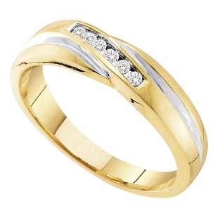 Round Diamond Wedding Band Ring 1/8 Cttw 10KT Yellow