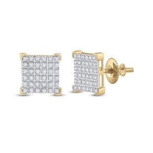 Round Diamond Square Earrings 1/5 Cttw 10KT Yellow Gold