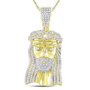 Round Diamond Jesus Face Charm Pendant 3 Cttw 10KT
