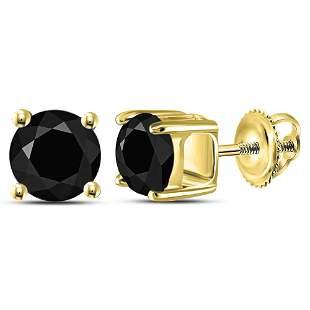 Round Black Color Enhanced Diamond Solitaire Stud