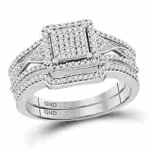 Cluster Bridal Wedding Ring Band Set 3/8 Cttw 10KT
