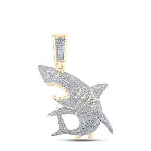Round Diamond Shark Charm Pendant 1-1/2 Cttw 10KT