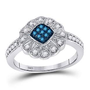 Round Blue Color Enhanced Diamond Cluster Ring 1/4 Cttw