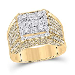Baguette Diamond Square Ring 2-7/8 Cttw 14KT Yellow