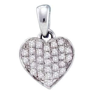 Round Diamond Heart Pendant 1/10 Cttw 10KT White Gold