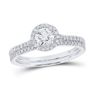 Diamond Slender Bridal Wedding Ring Band Set 7/8 Cttw