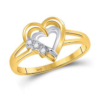 Round Diamond Double Heart Ring .03 Cttw 10KT Yellow