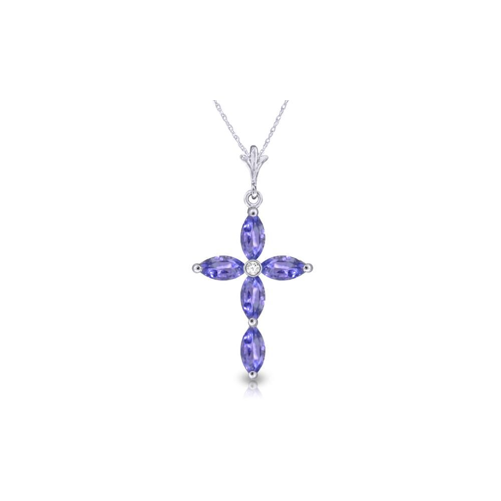 Genuine 1.23 ctw Tanzanite & Diamond Necklace 14KT