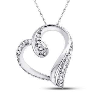 Round Diamond Heart Outline Pendant 1/10 Cttw 10KT