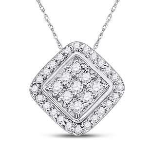 Round Diamond Diagonal Square Frame Cluster Pendant 1/4