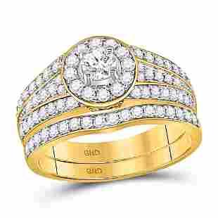 Bridal Wedding Ring Band Set 1 Cttw 14KT Yellow Gold