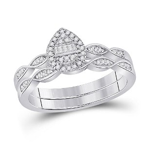 Bridal Wedding Ring Band Set 1/5 Cttw 10KT White Gold