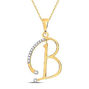 Round Diamond B Initial Letter Pendant 1/12 Cttw 10KT