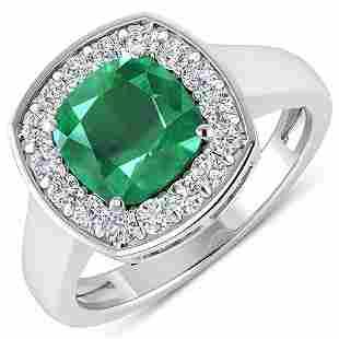 Natural 2.48 CTW Zambian Emerald & Diamond Ring 14K