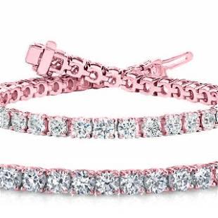 Natural 6ct VS2-SI1 Diamond Tennis Bracelet 14K Rose