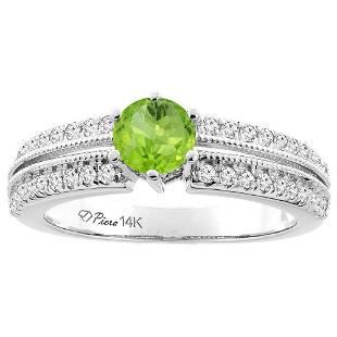 1.10 CTW Peridot & Diamond Ring 14K White Gold -