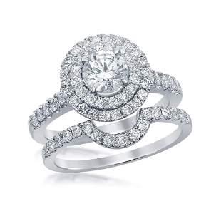 Diamond Double Halo Bridal Wedding Ring Band Set 1-3/4