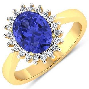Natural 2.49 CTW Tanzanite & Diamond Ring 14K Yellow