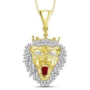 Round Diamond King Lion Crown Charm Pendant 1 Cttw 10KT