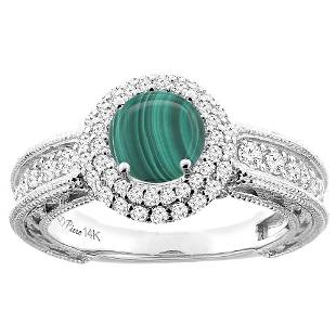2.68 CTW Malachite & Diamond Ring 14K White Gold -