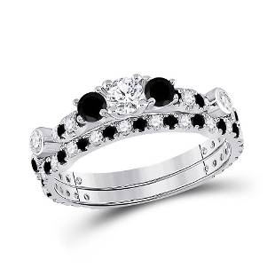 Diamond 3-Stone Bridal Wedding Ring Band Set 1 Cttw